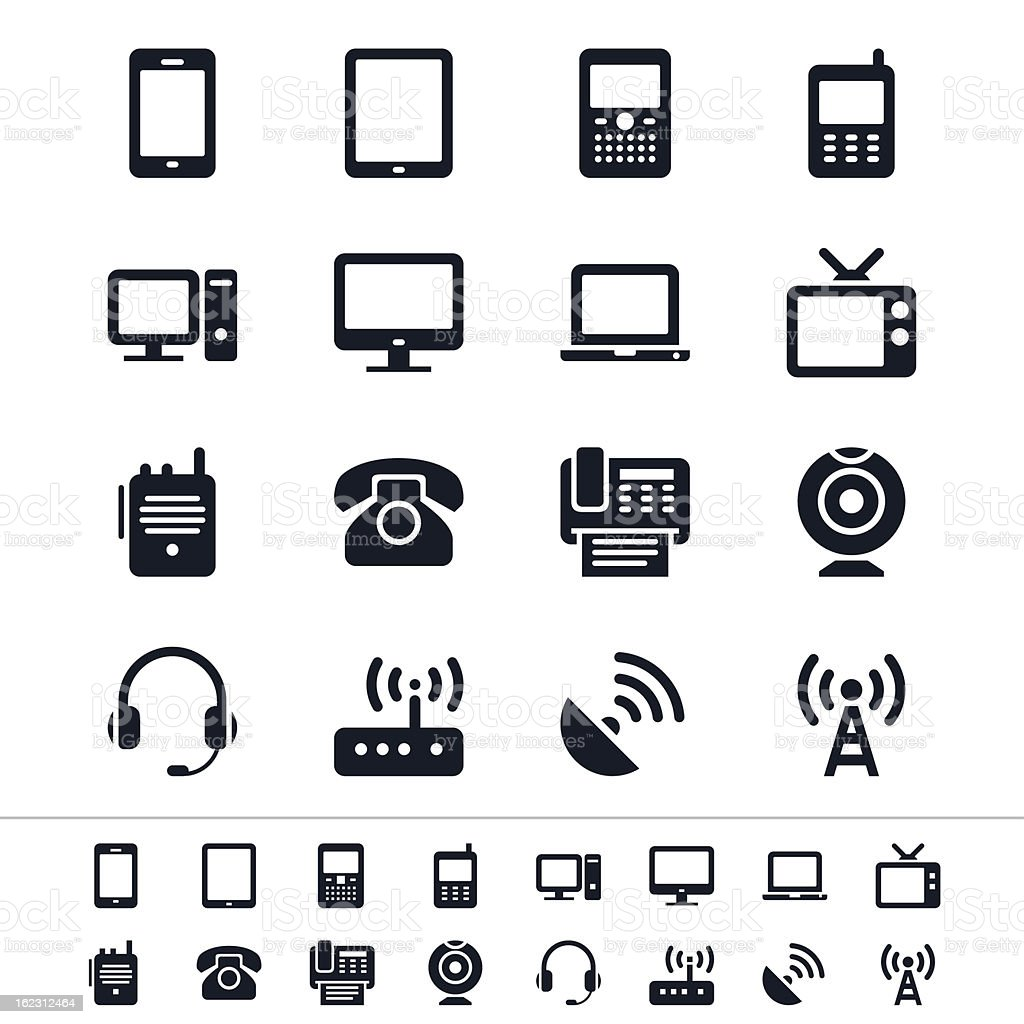 Communication device icons in black and white vector art illustration