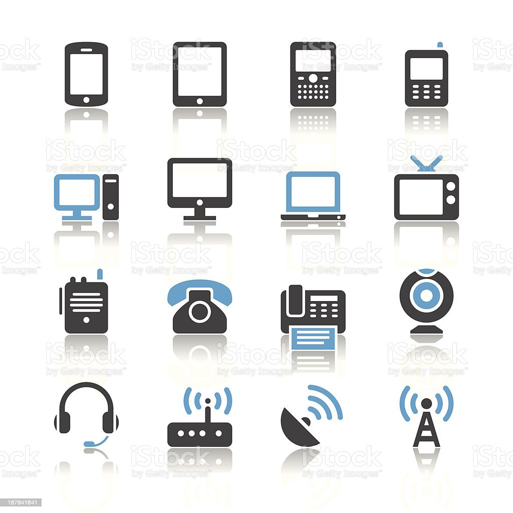 Communication device icons - reflection theme vector art illustration
