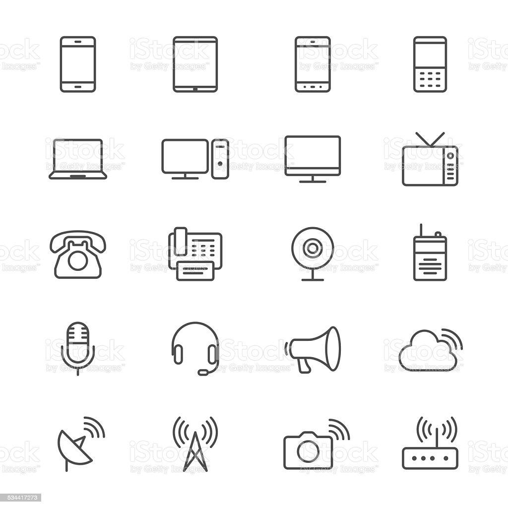 Communication device thin icons vector art illustration