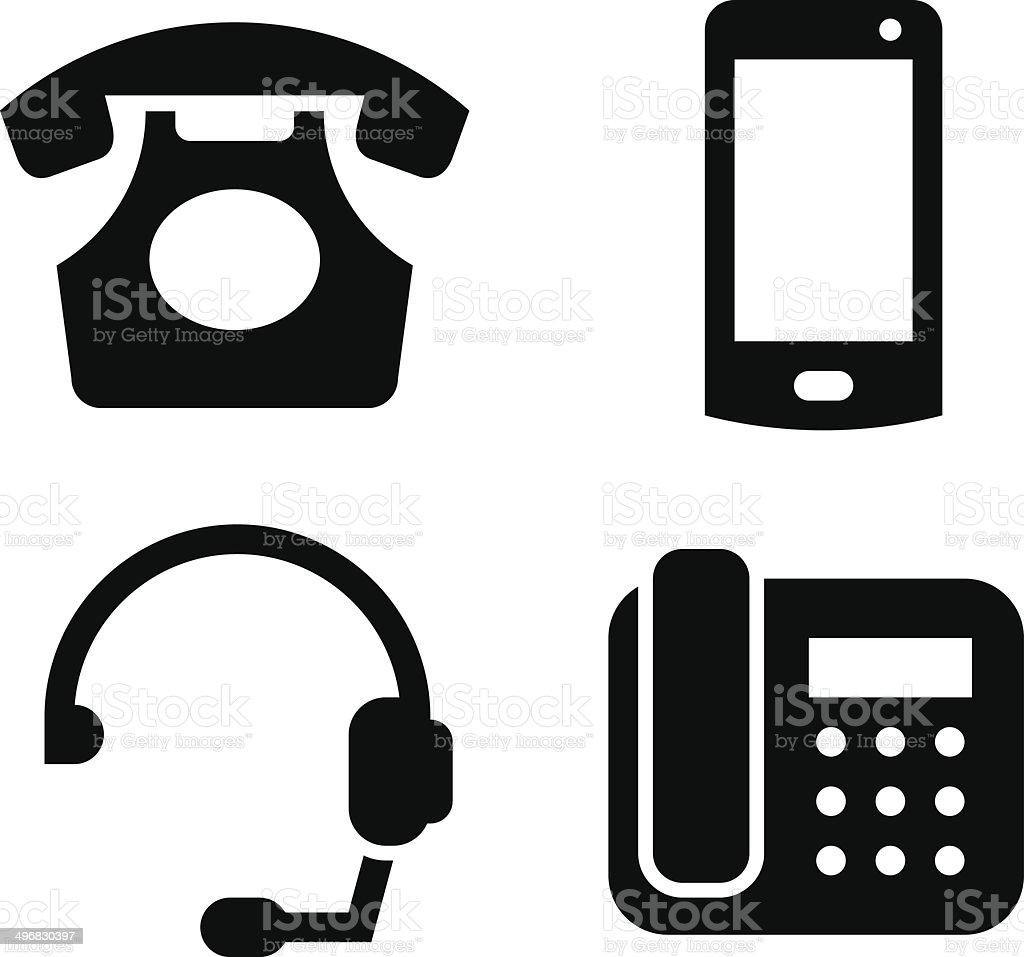 Communication devices icon set vector art illustration