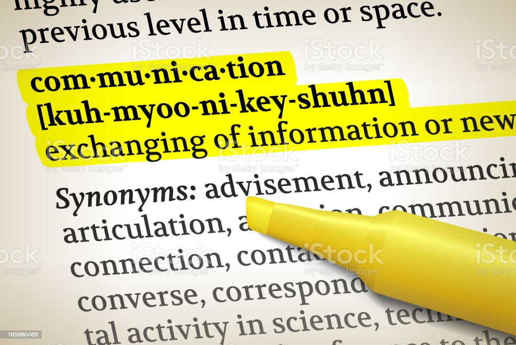 Communication dictionary definition royalty free vector illustration vector art illustration