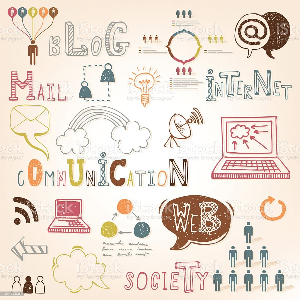 Communication doodle set royalty-free stock vector art
