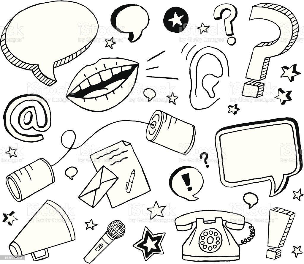 Communication Doodles vector art illustration