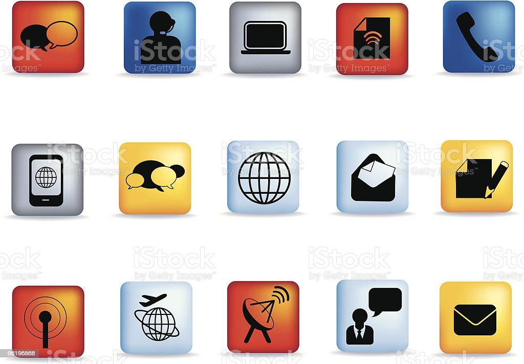 Schaltfläche Kommunikation icon-set Lizenzfreies vektor illustration