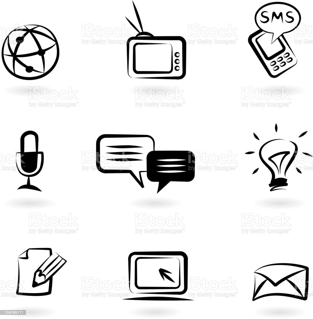 Communication icon set in black and white vector art illustration