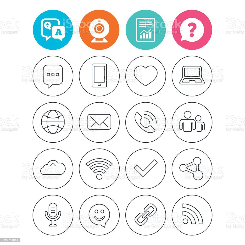 Communication icon. Smartphone, laptop and chat. vector art illustration