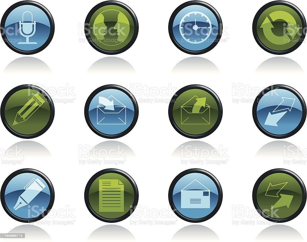Communication Icon Symbols in Glossy Button Shape royalty-free stock vector art