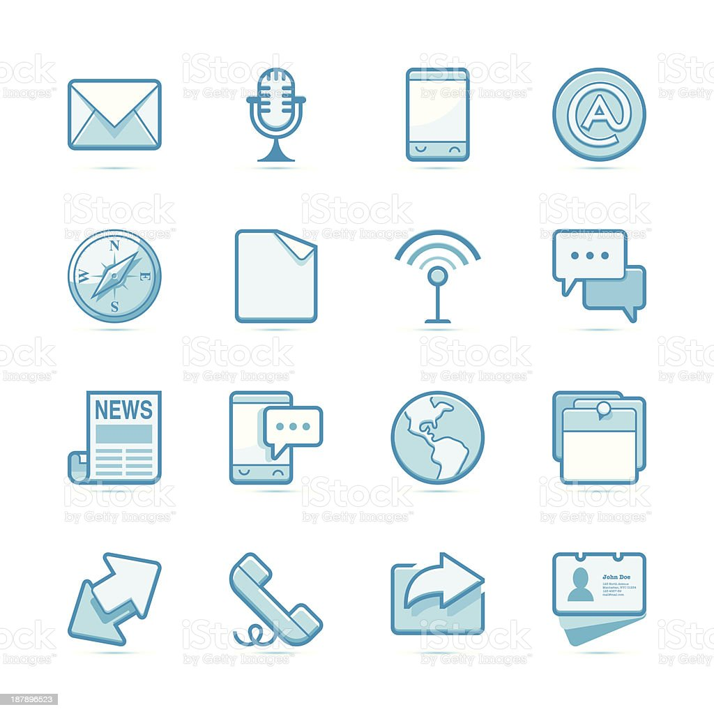 Communication icons | Blue series royalty-free stock vector art