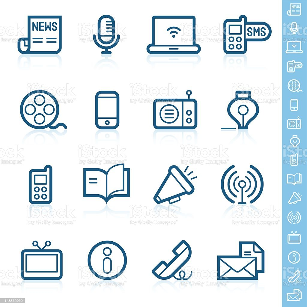 Communication icons | Contour series vector art illustration
