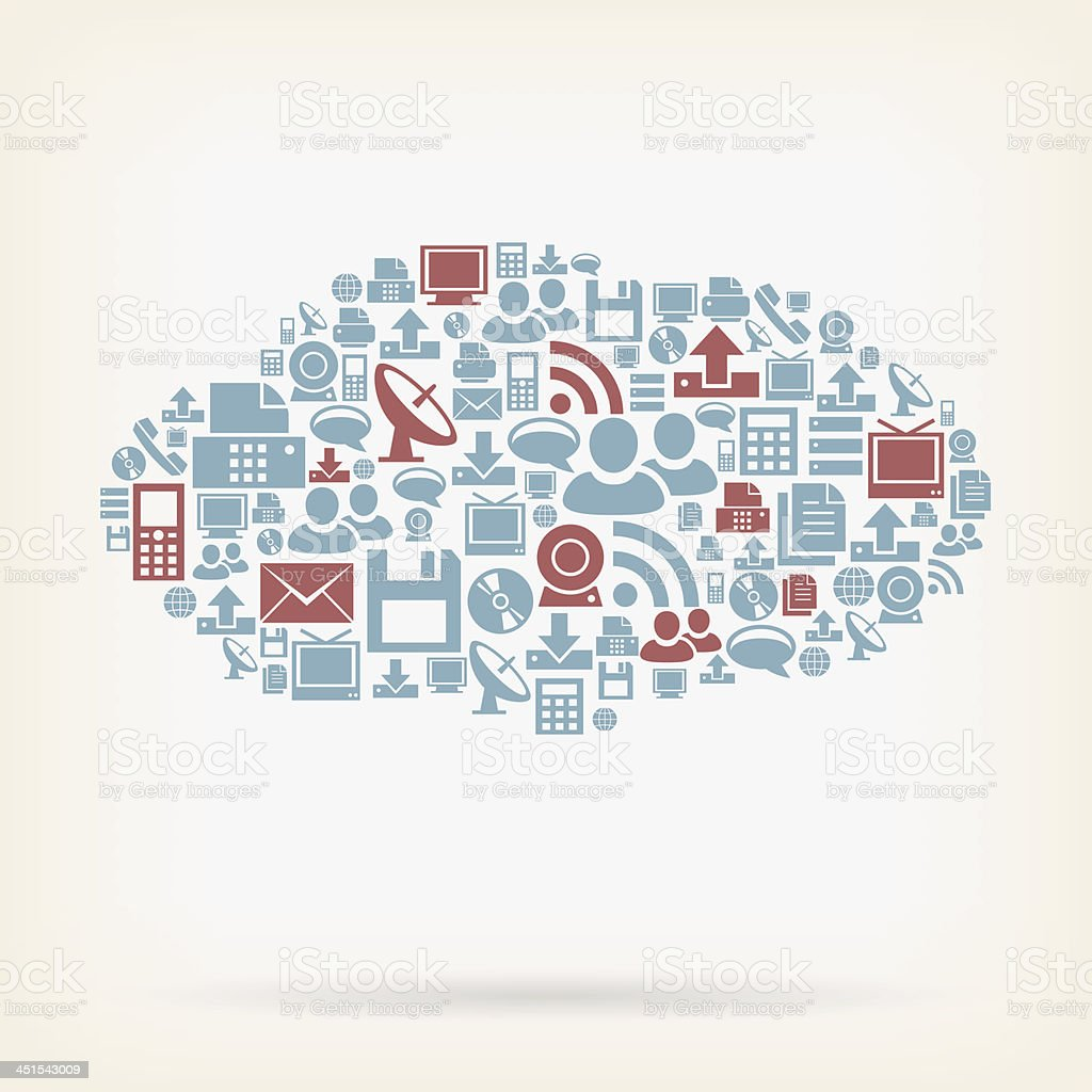 Communication icons in the shape of a cloud vector art illustration
