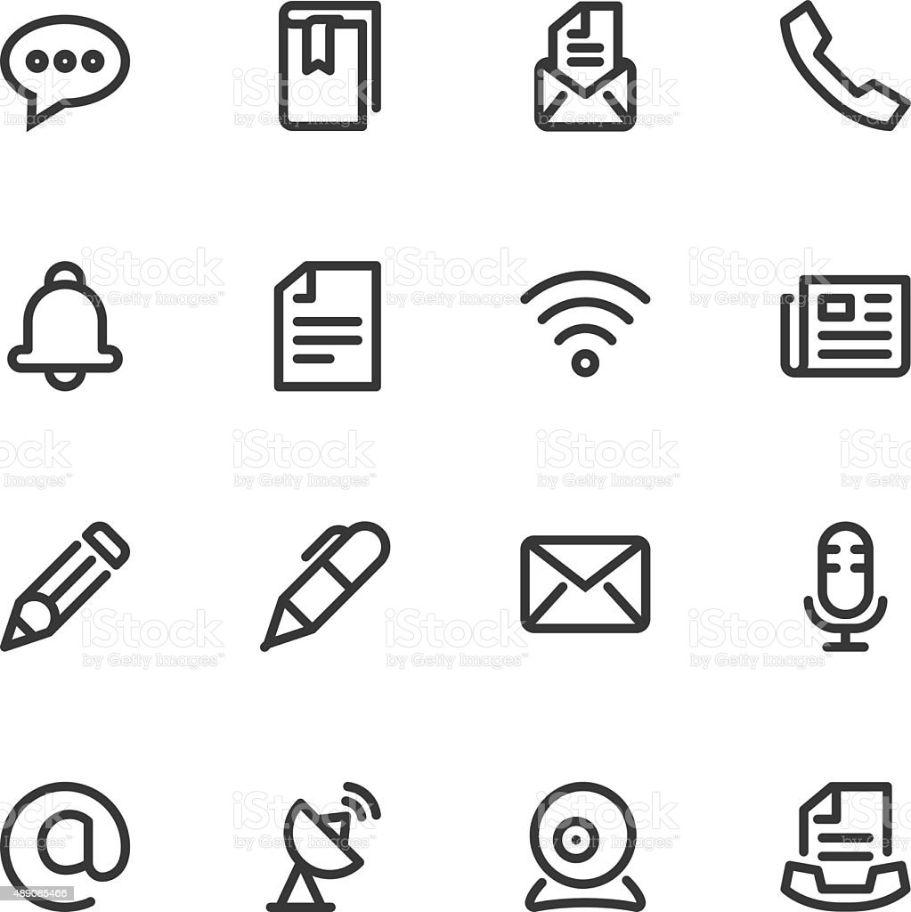 Communication icons - Line vector art illustration