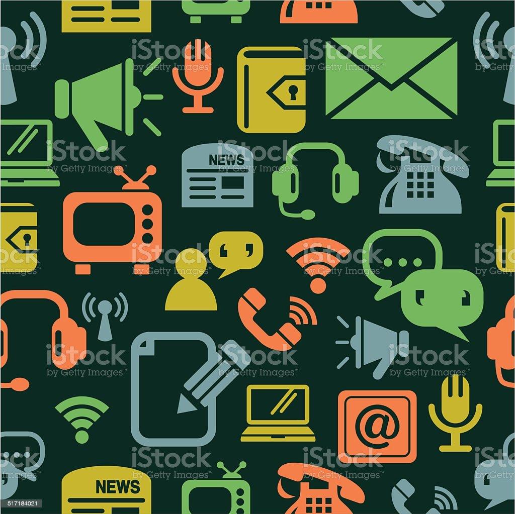 Communication Icons Seamless Background vector art illustration