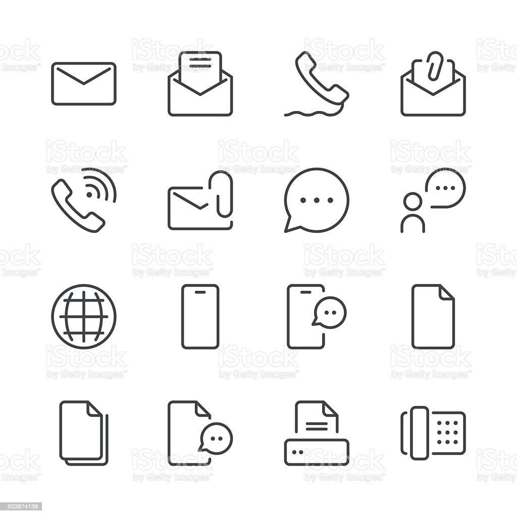 Communication Icons set 1 | Black Line series vector art illustration