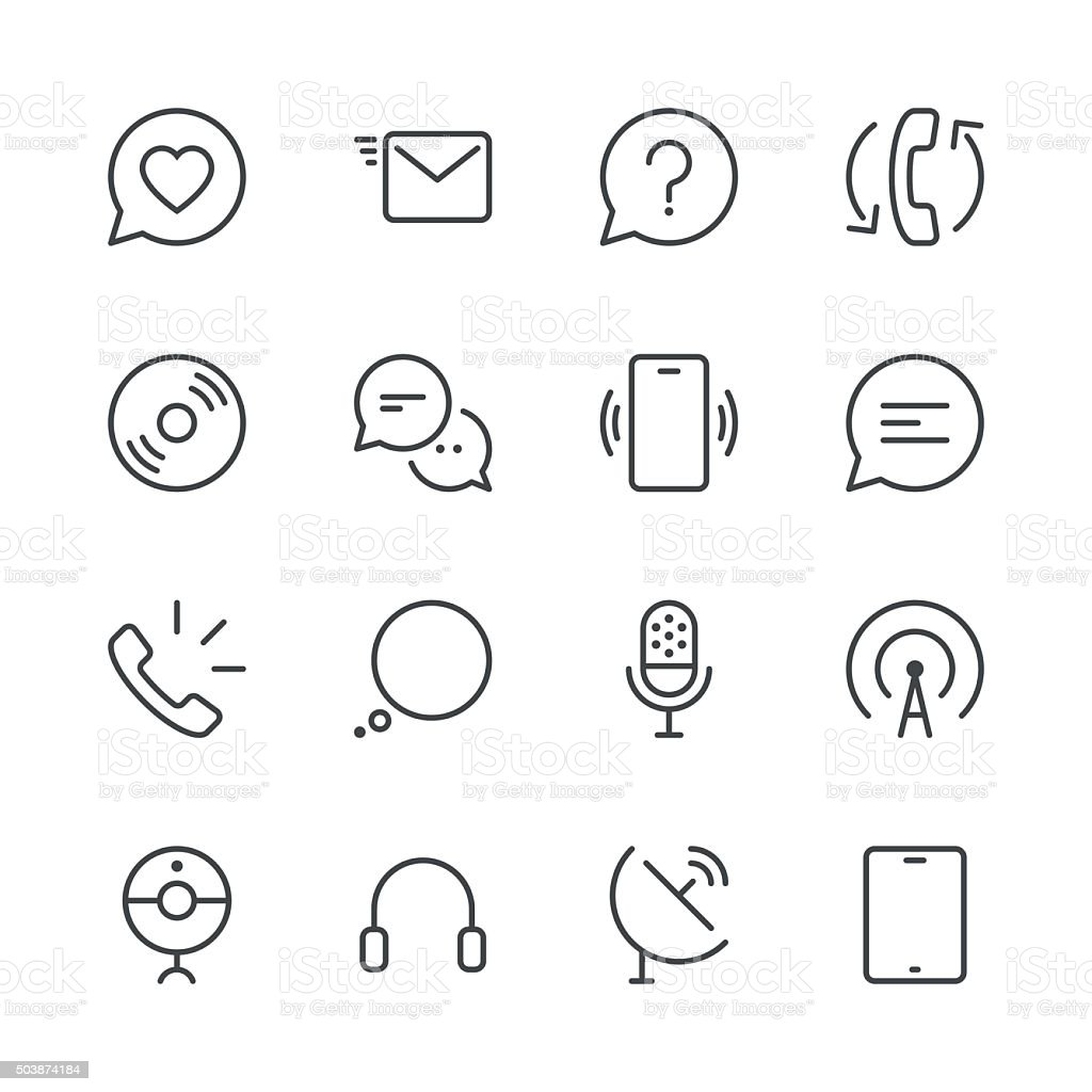 Communication Icons set 2 | Black Line series vector art illustration