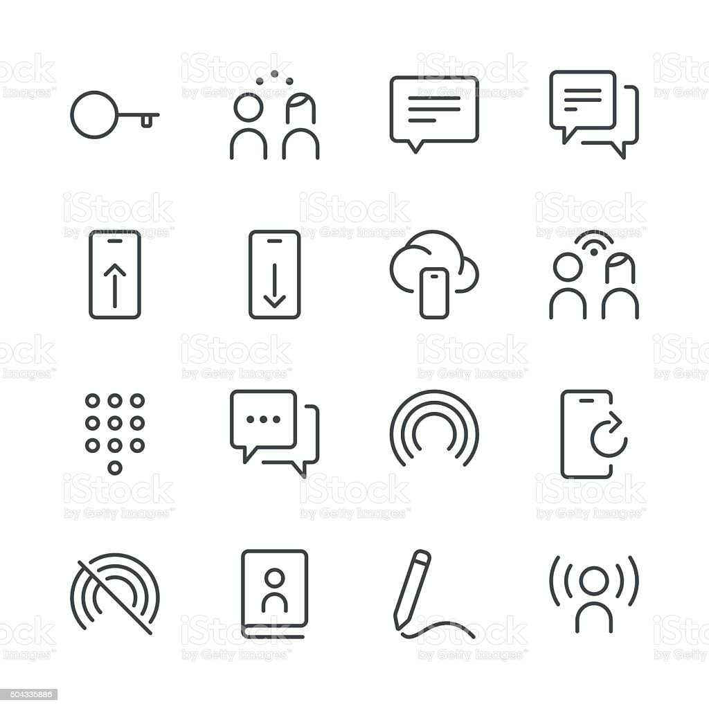 Communication Icons set 4   Black Line series vector art illustration