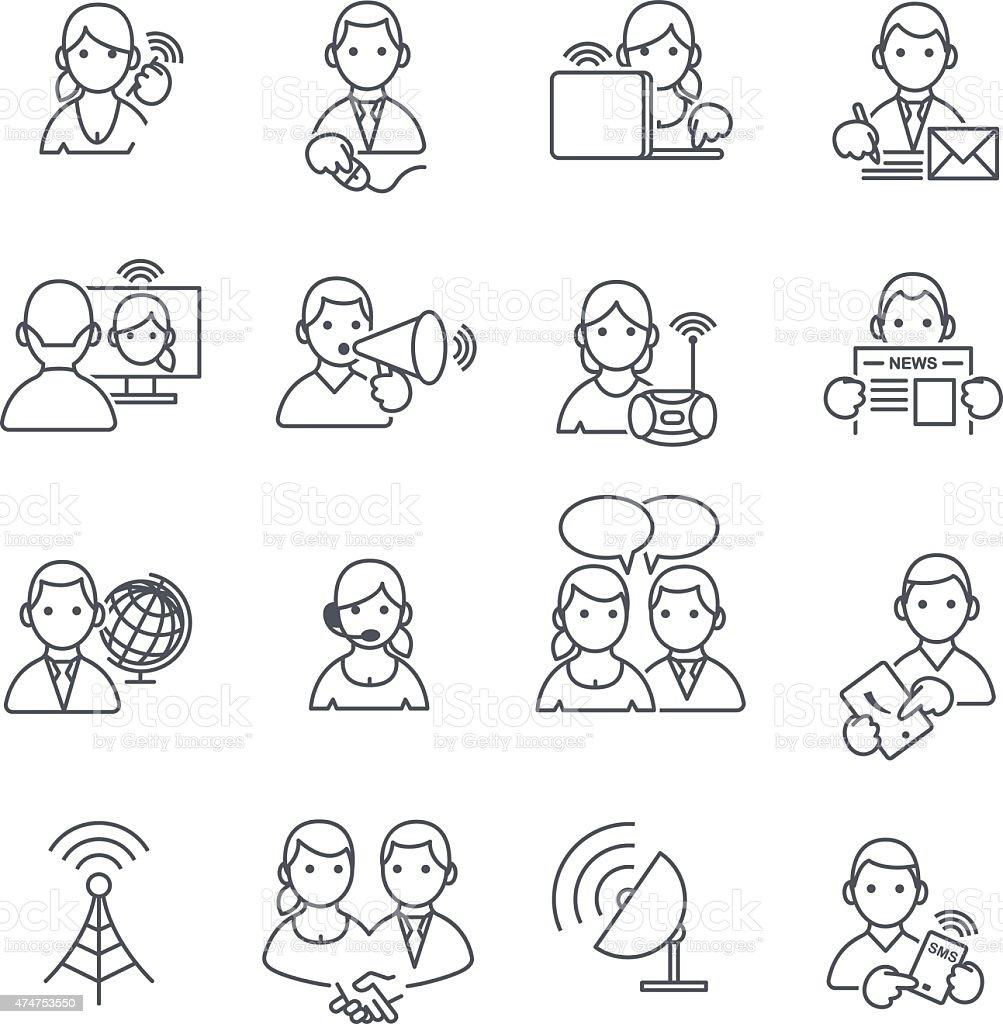 Communication icons thin line. vector art illustration
