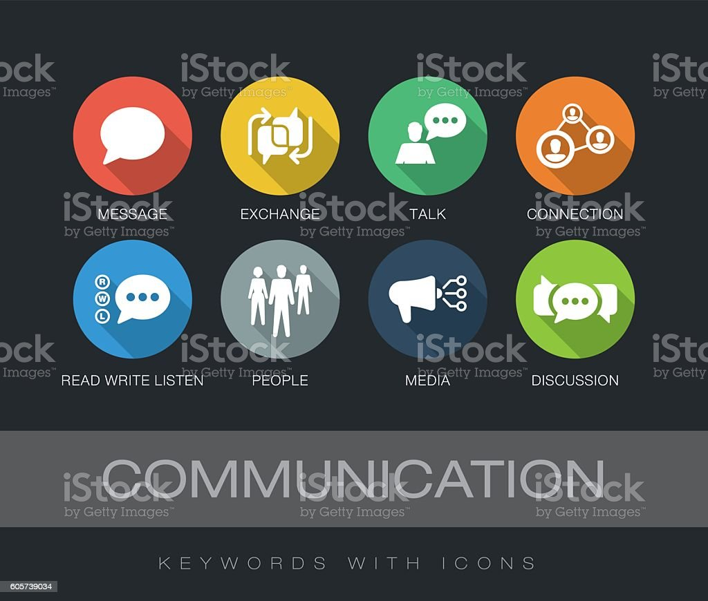 Communication keywords with icons vector art illustration