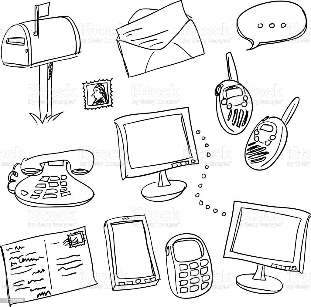 communication media collection in black and white vector art illustration