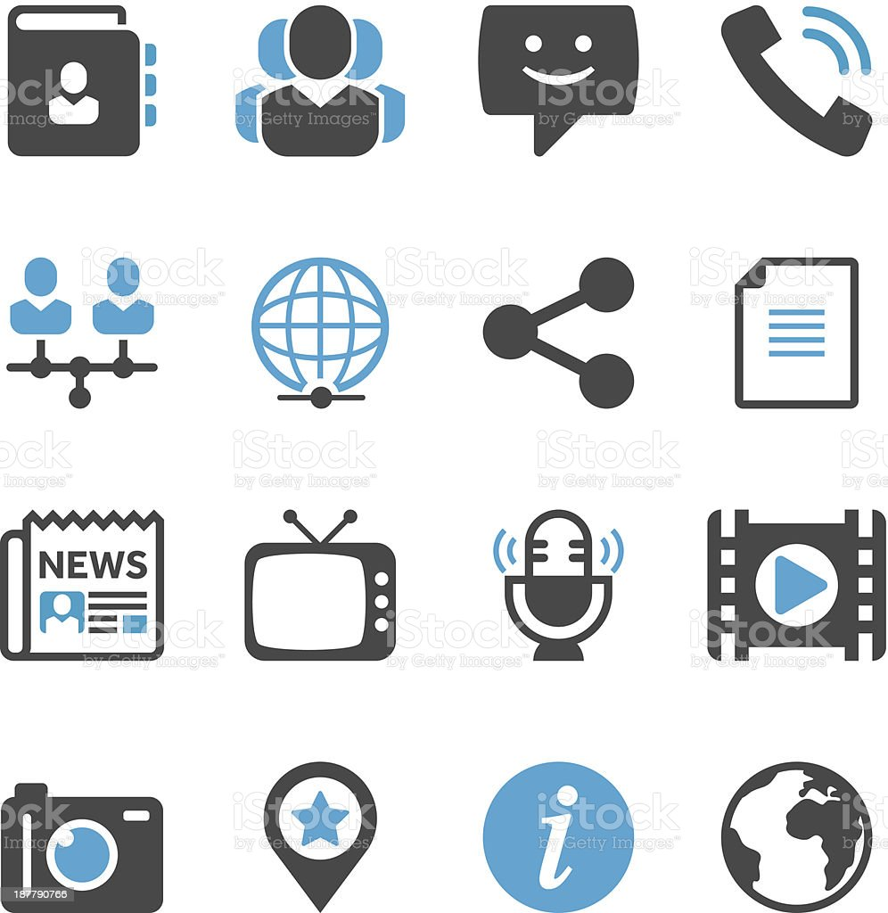 Communication & Media Icon Set   Concise Series royalty-free stock vector art