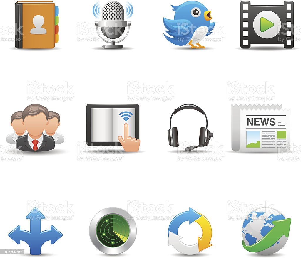 Communication & Media Icon Set | Elegant Series vector art illustration