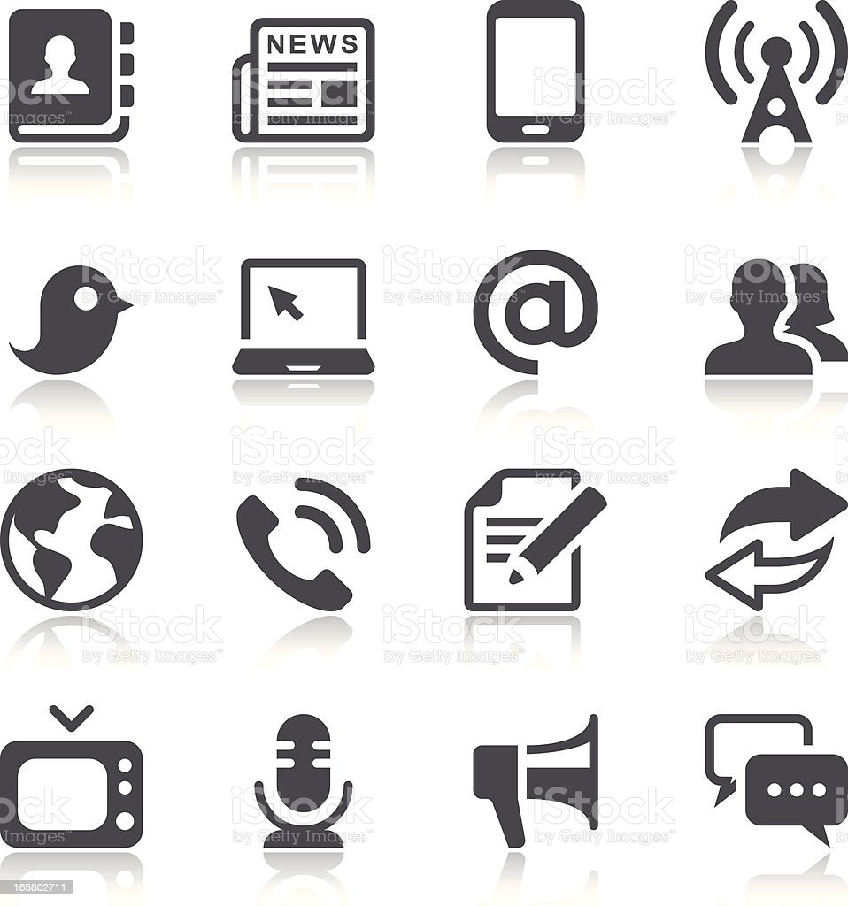 Communication & Media Icons vector art illustration