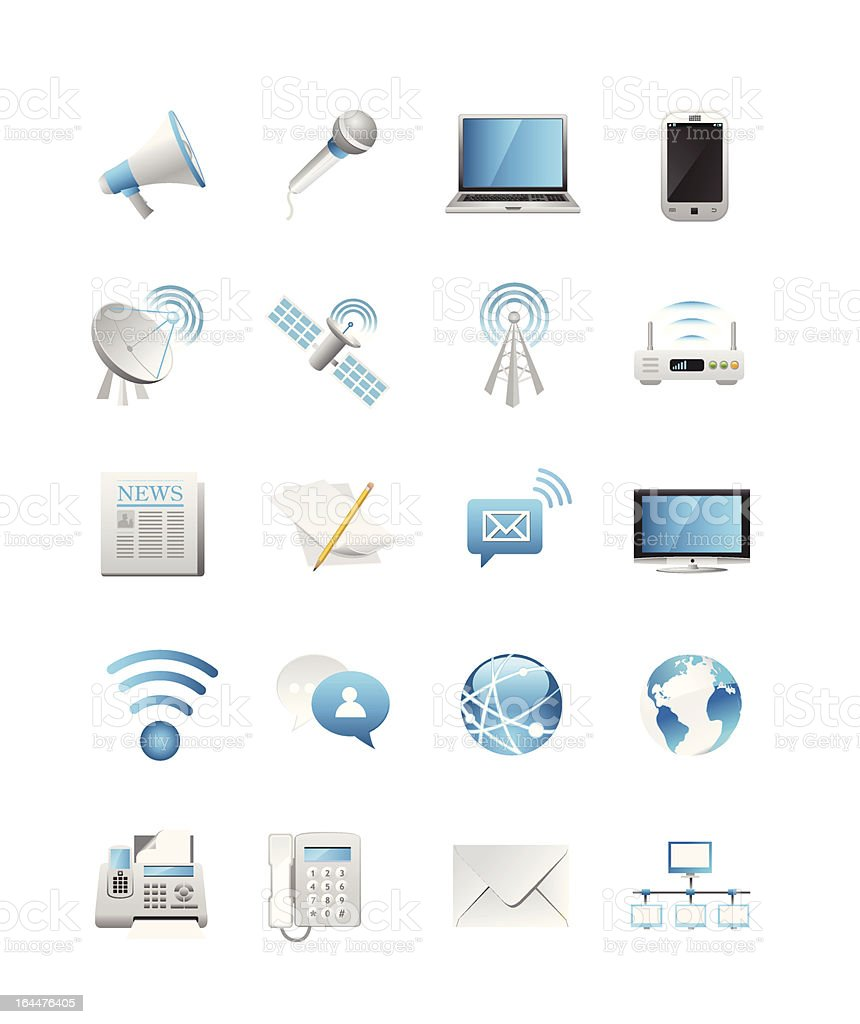 Communication, Media & Telecommunication Icons royalty-free stock vector art