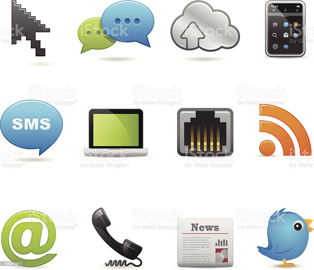 Communication & Networking Related Icons royalty-free stock vector art