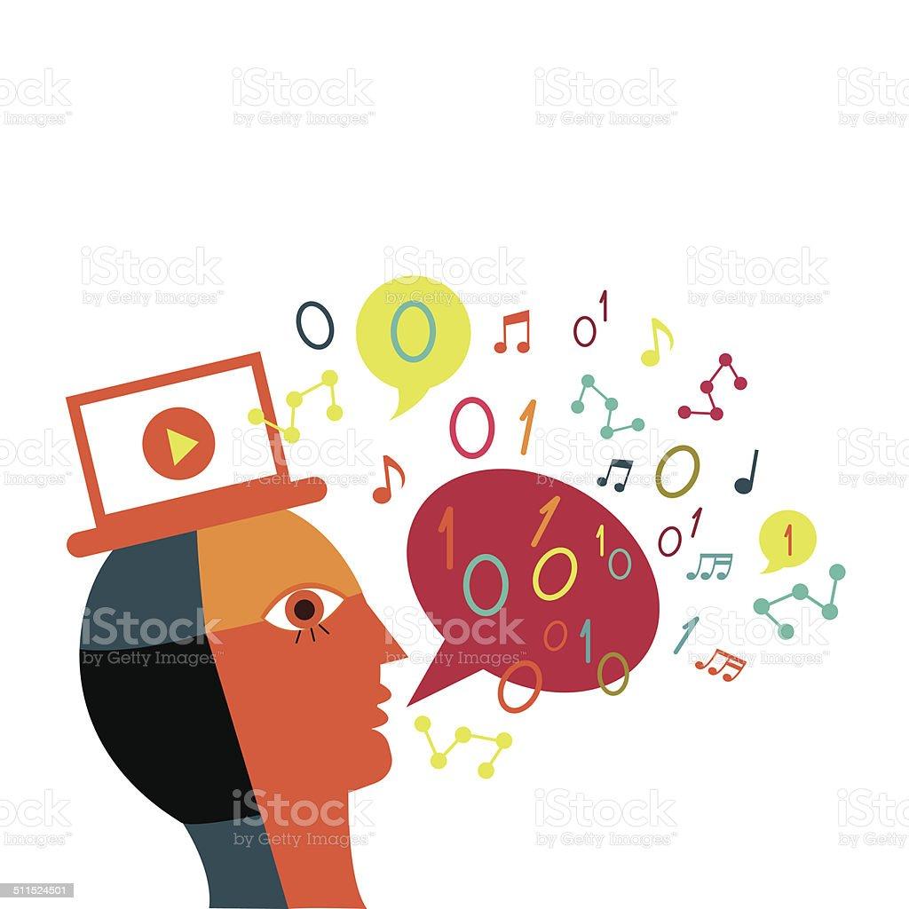 Communication on the network vector art illustration
