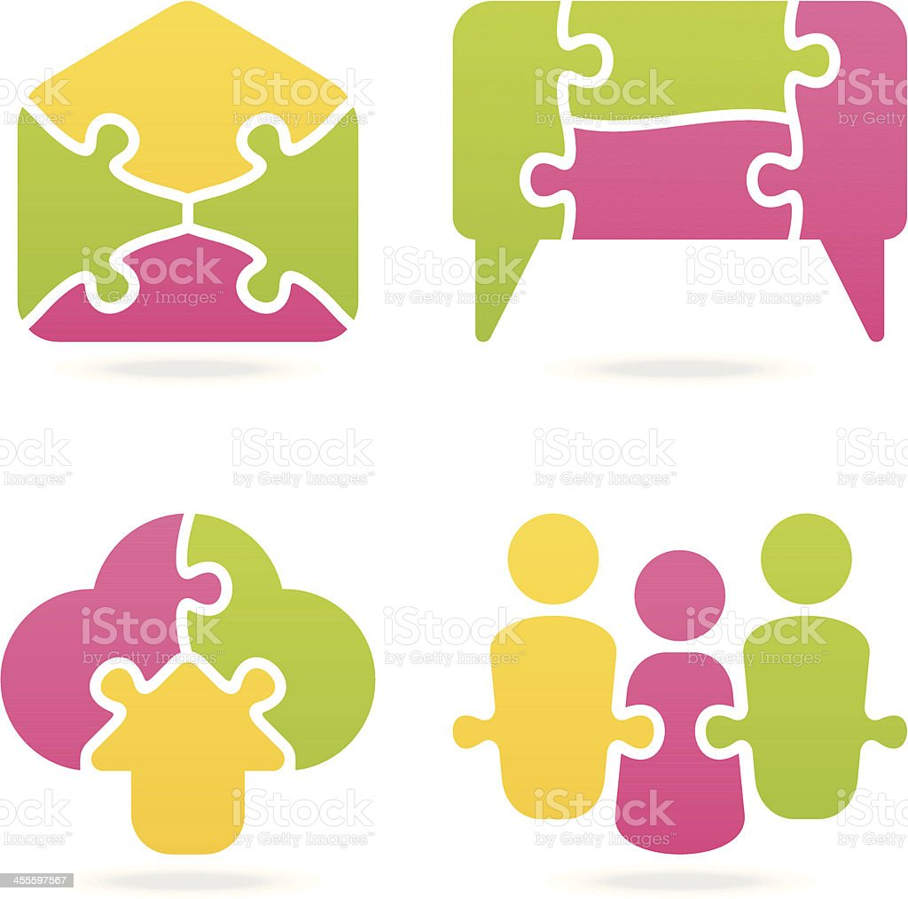 communication puzzle set vector art illustration