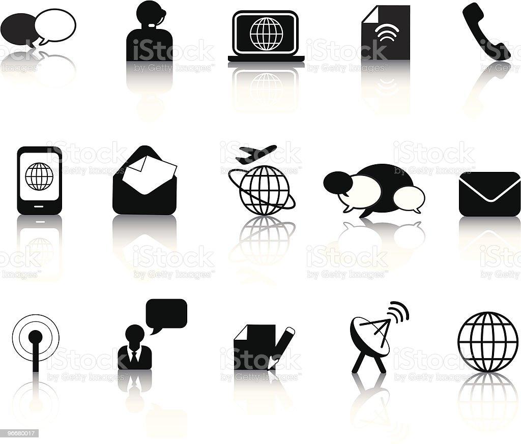 Kommunikation silhouette icon-set Lizenzfreies vektor illustration
