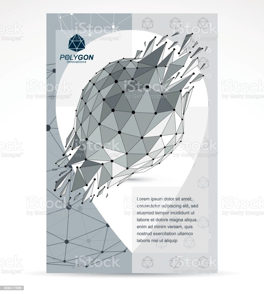 Poster design using 3d objects - Communication Technologies Advertising Poster 3d Polygonal Monochrome Geometric Faceted Object Vector Abstract Design Element
