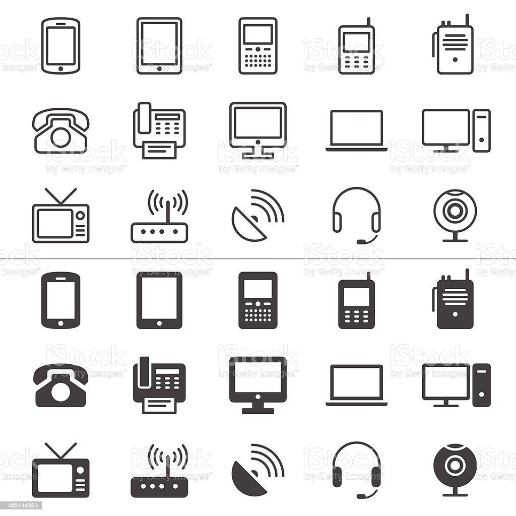 Communication technology icons in black on white background vector art illustration