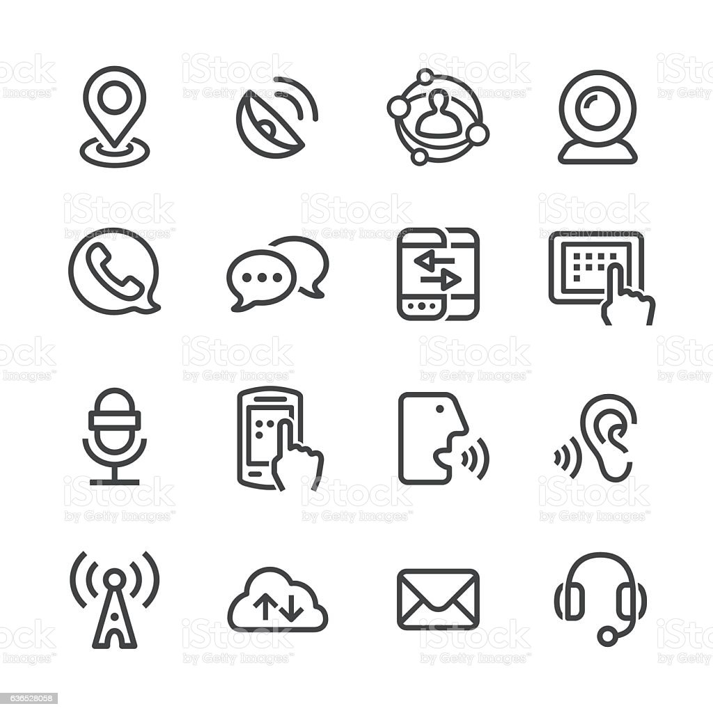 Communication Technology Icons - Line Series vector art illustration