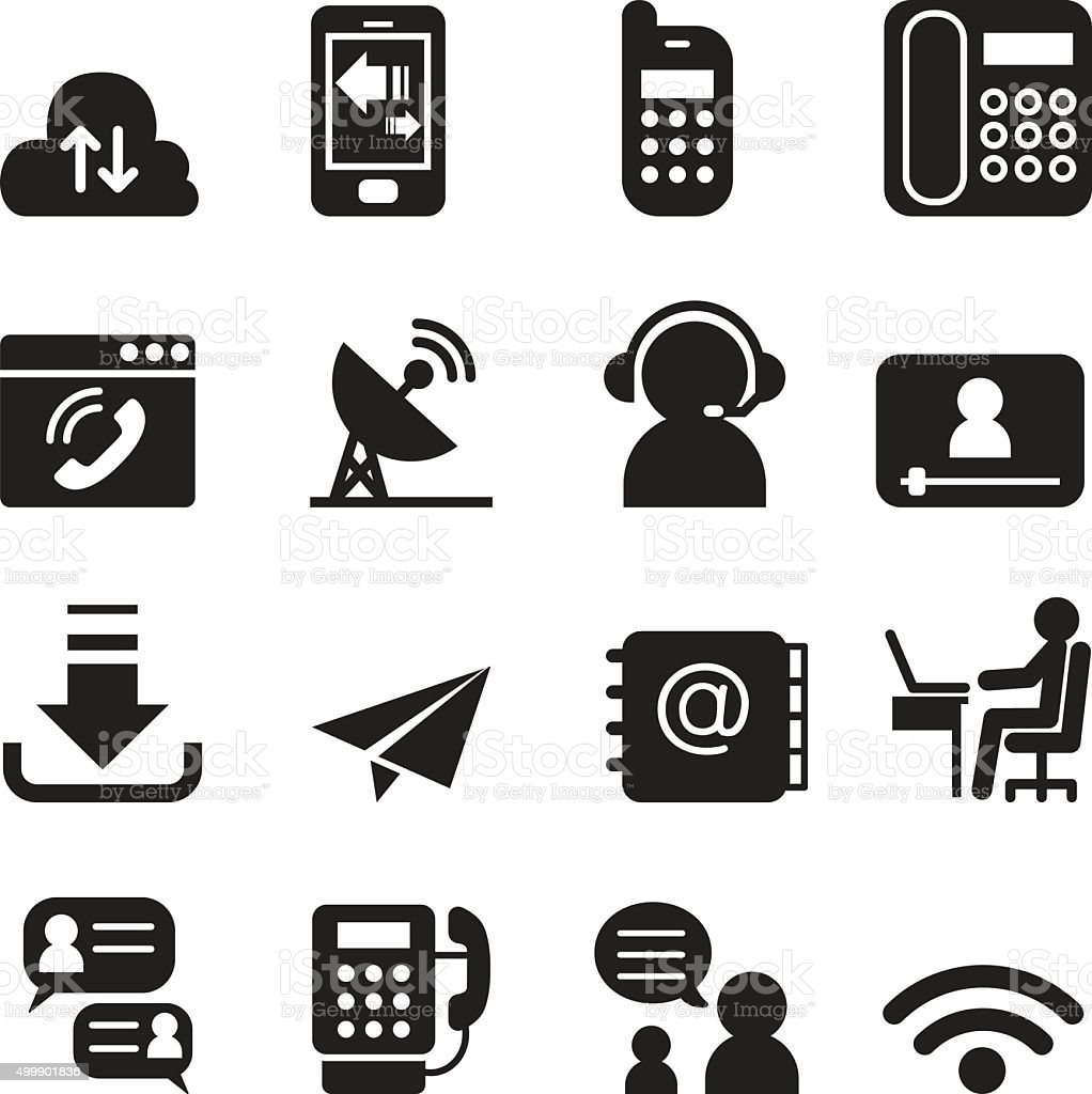 Communication Technology icons set 2 vector art illustration