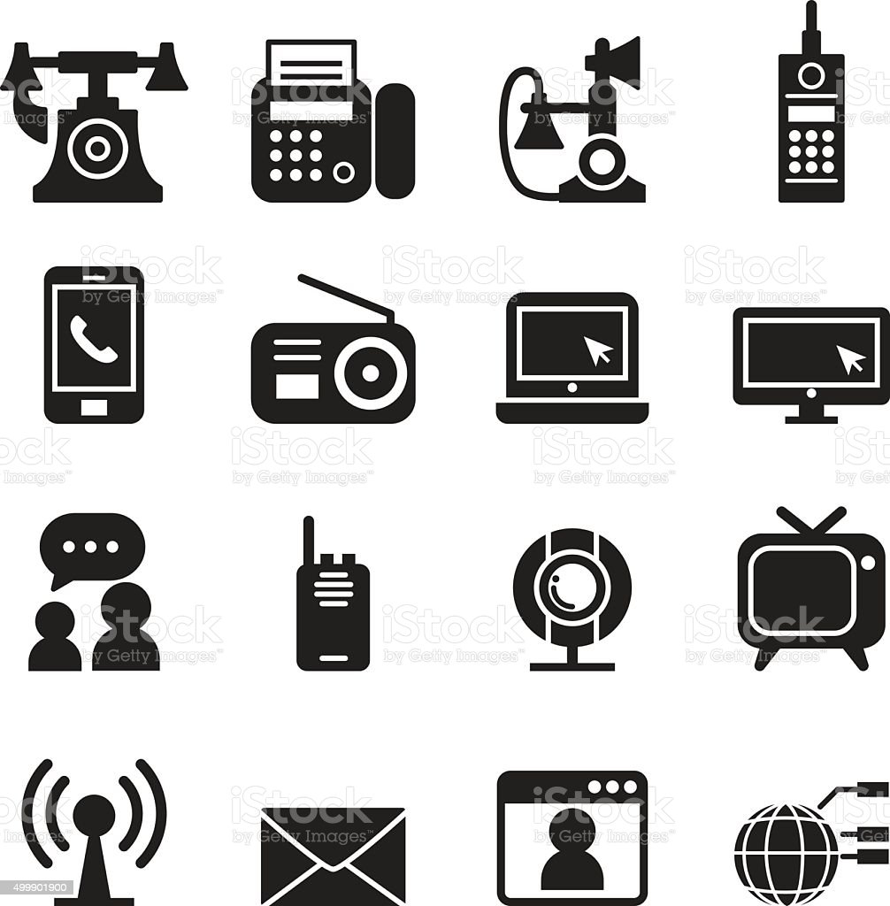 Communication Technology icons set Vector vector art illustration