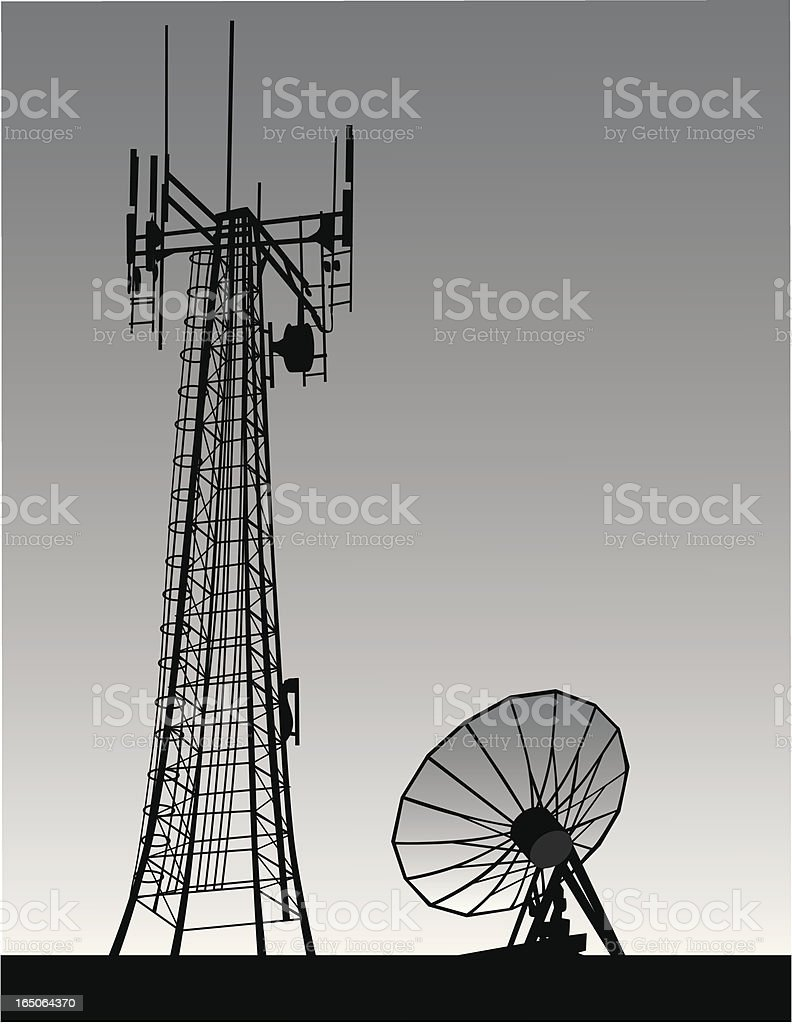 Communication Tower Vector Silhouette royalty-free stock vector art