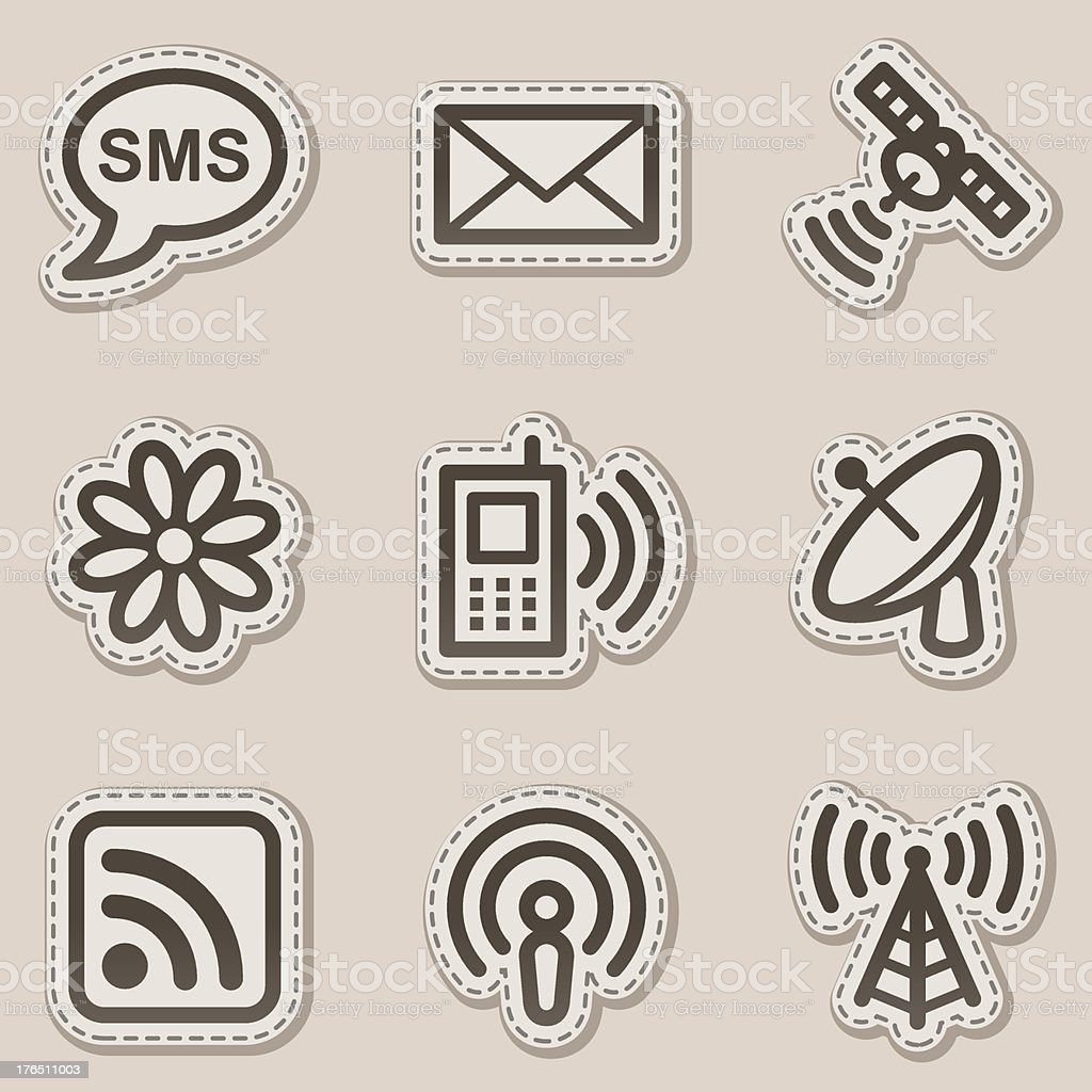 Communication web icons, brown contour sticker series royalty-free stock vector art