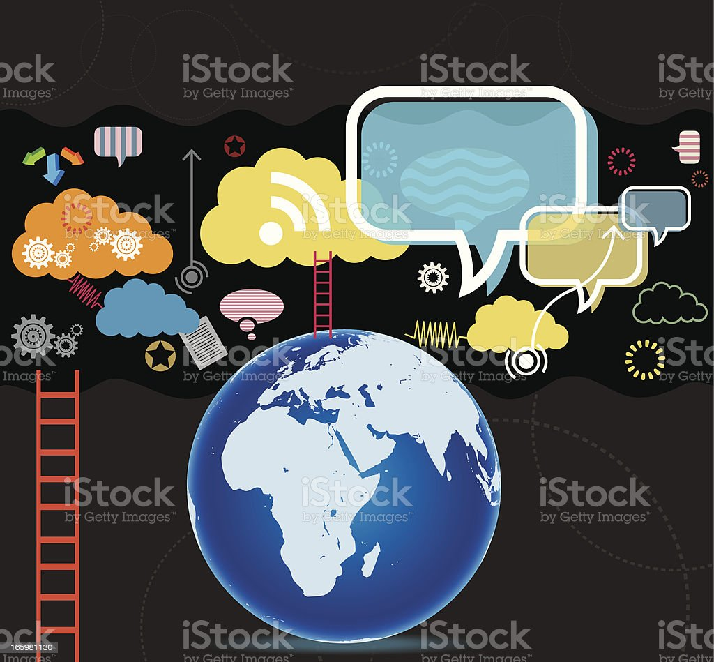 Communication with Globe royalty-free stock vector art