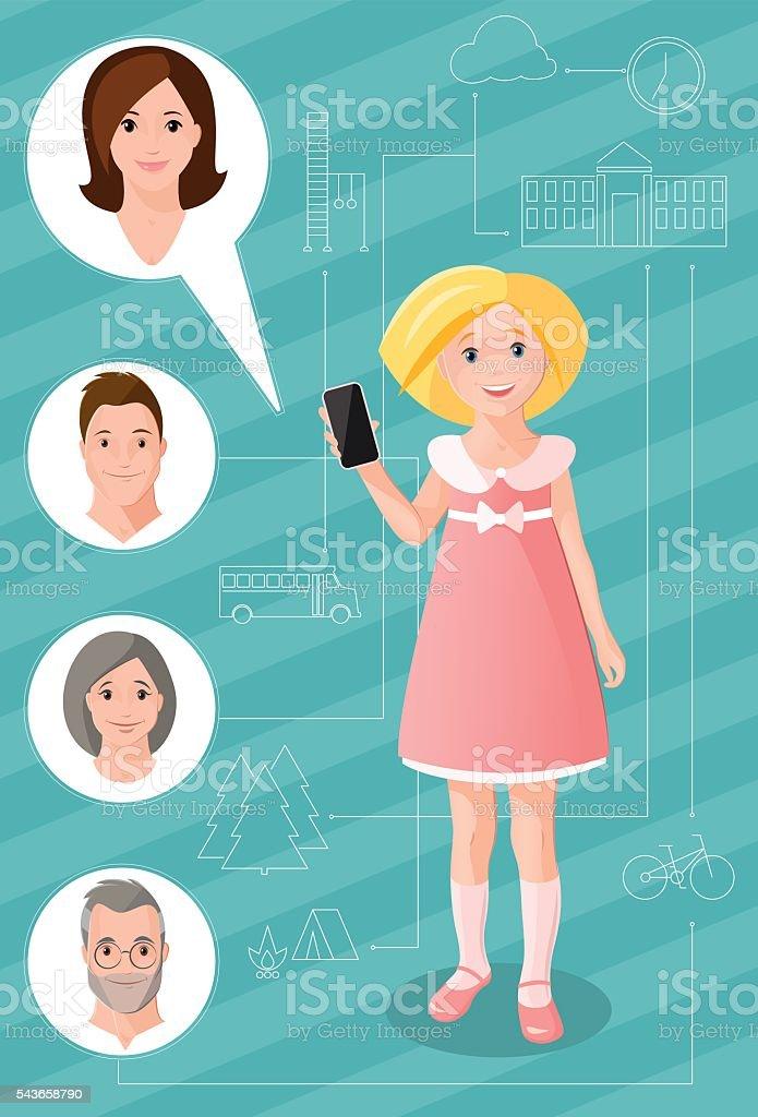 communication_girl vector art illustration