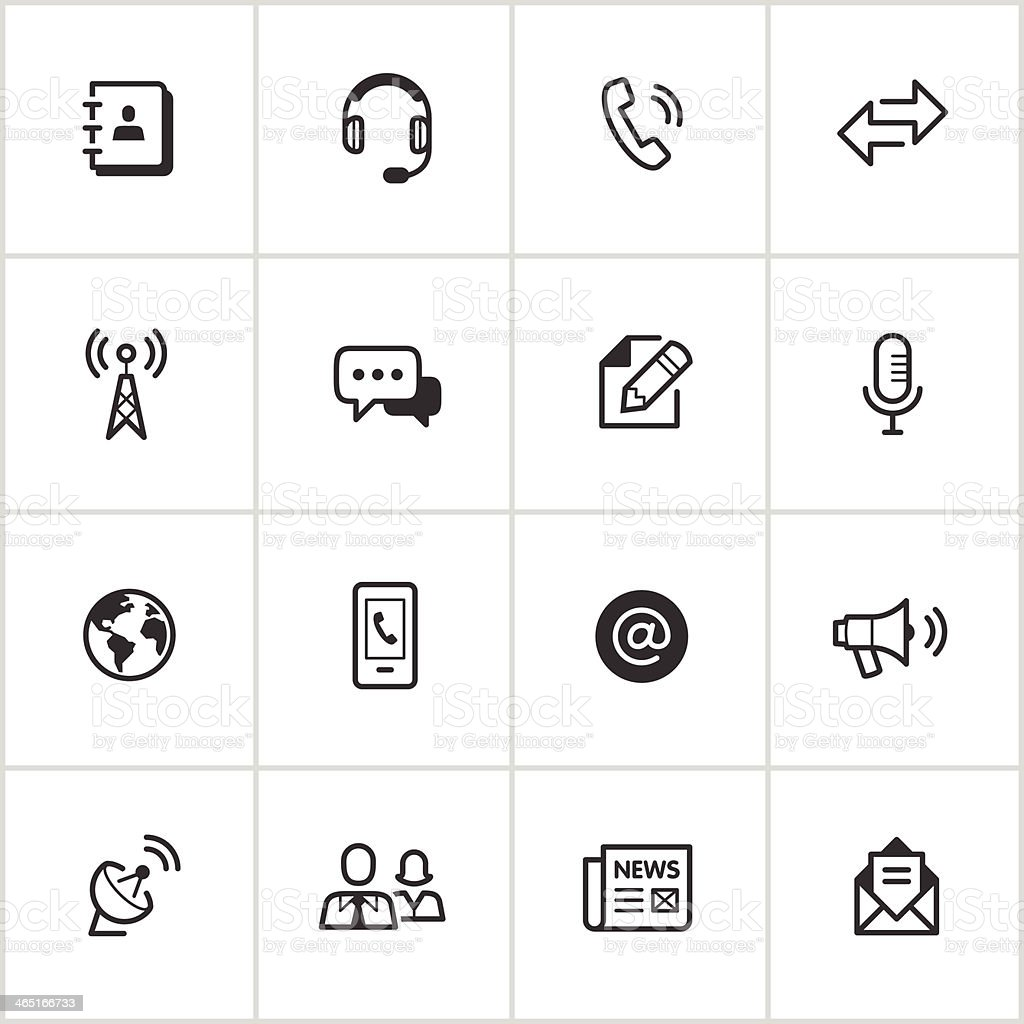 Communications Icons — Inky Series vector art illustration