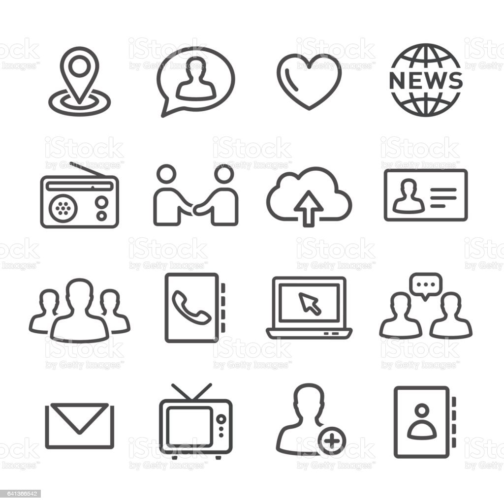Communications Icons Set - Line Series vector art illustration
