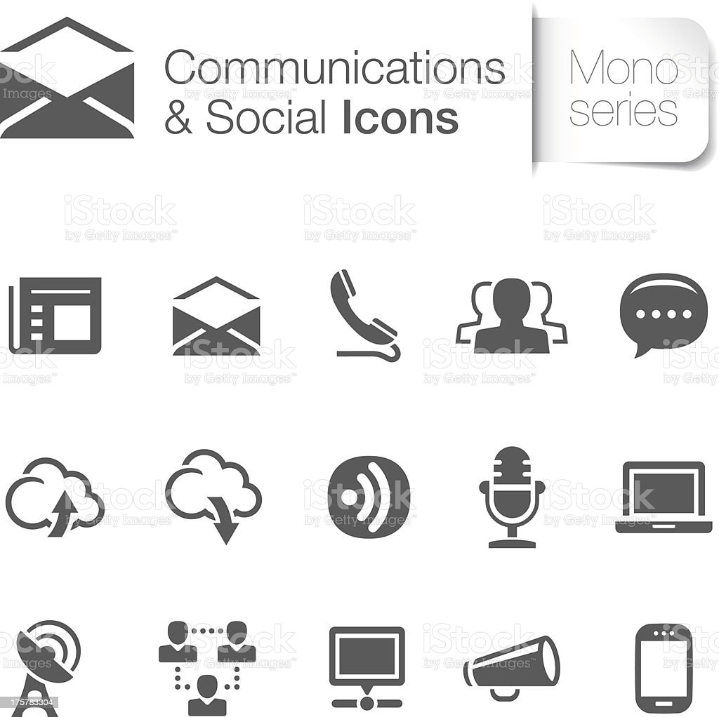 Communications & Social Related Icons royalty-free stock vector art