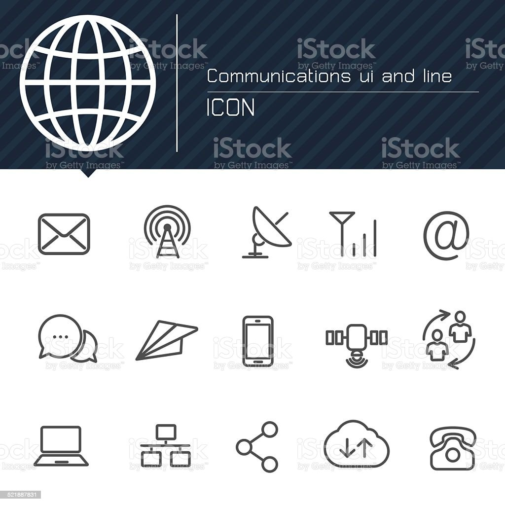 Communications ui and line icon vector art illustration