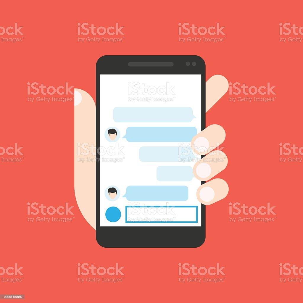 Communicator to chatting on mobile phone vector art illustration