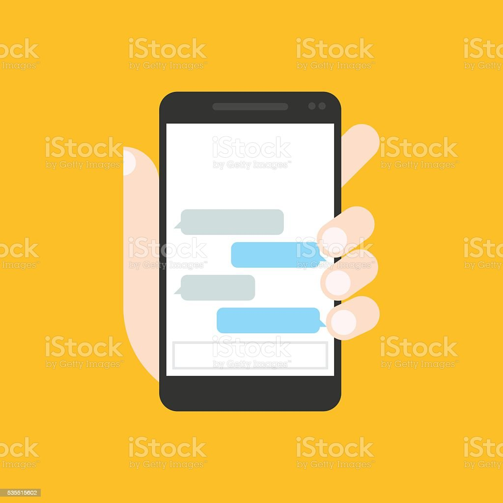 Communicator to chatting on mobile phone stock photo