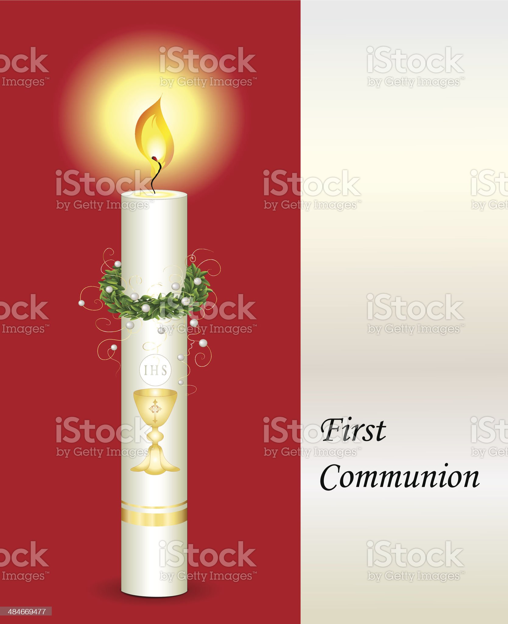 Communion card in red for girls royalty-free stock vector art