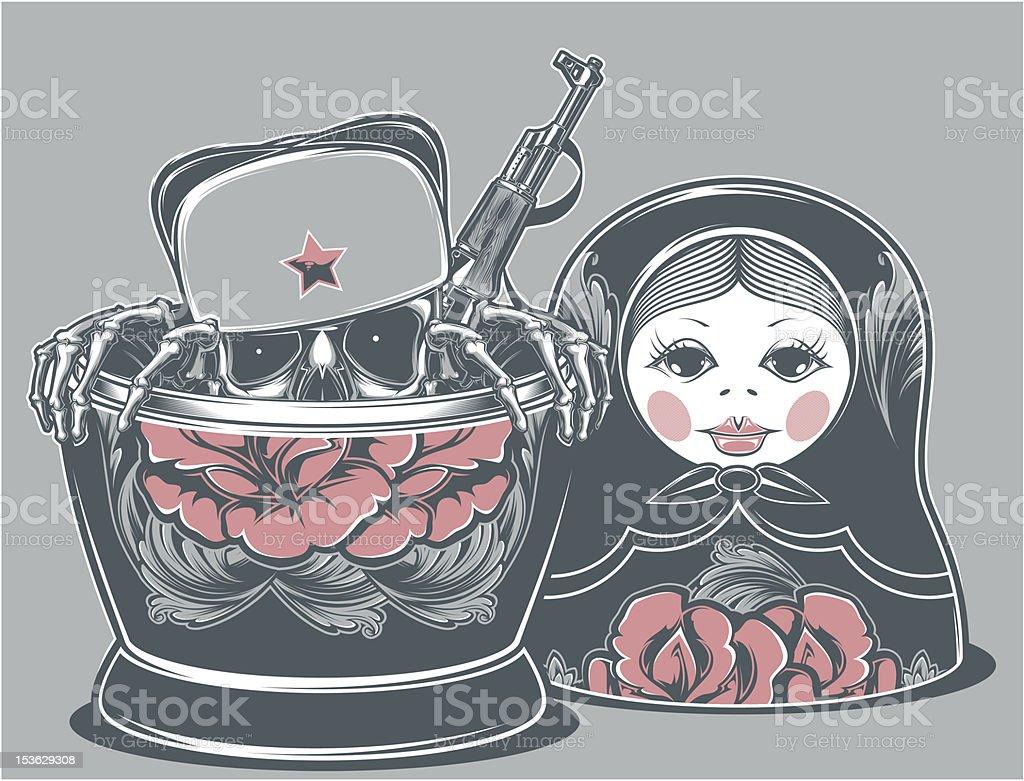Communist Matrioshka vector art illustration