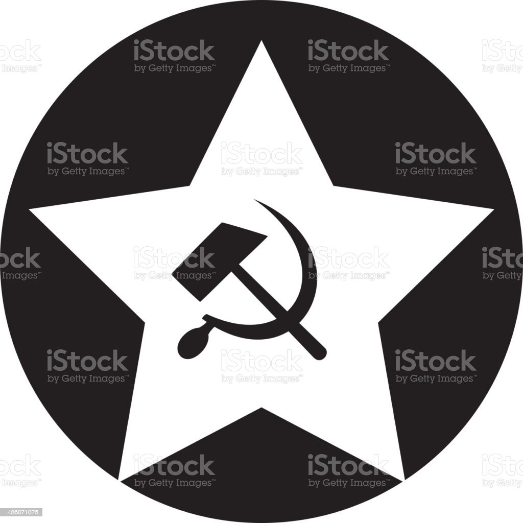 Communist star with hammer and sickle on white background. royalty-free stock vector art