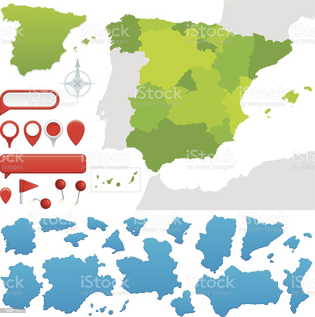 Communities of Spain vector art illustration