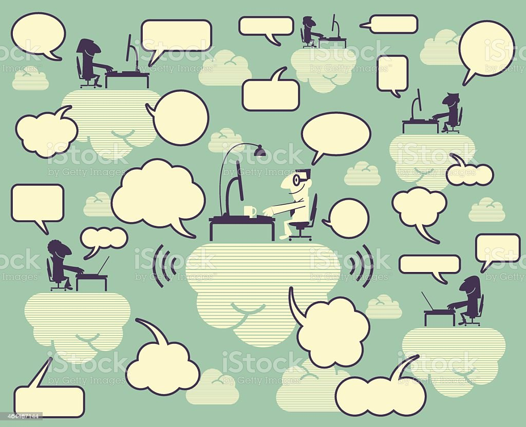 Community Cloud, group of smiling people using computer on clouds vector art illustration